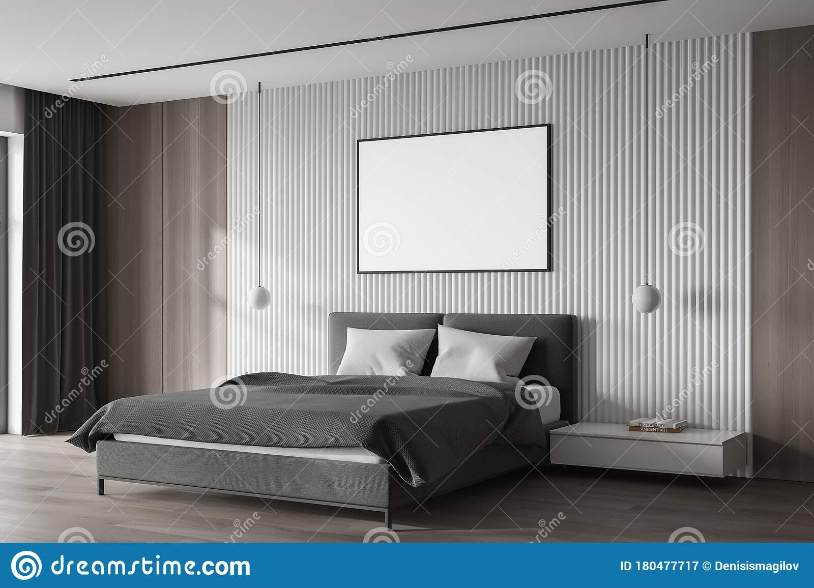 White Master Bedroom Corner With Poster Stock Illustration Illustration Of Empty Bedside 180477717