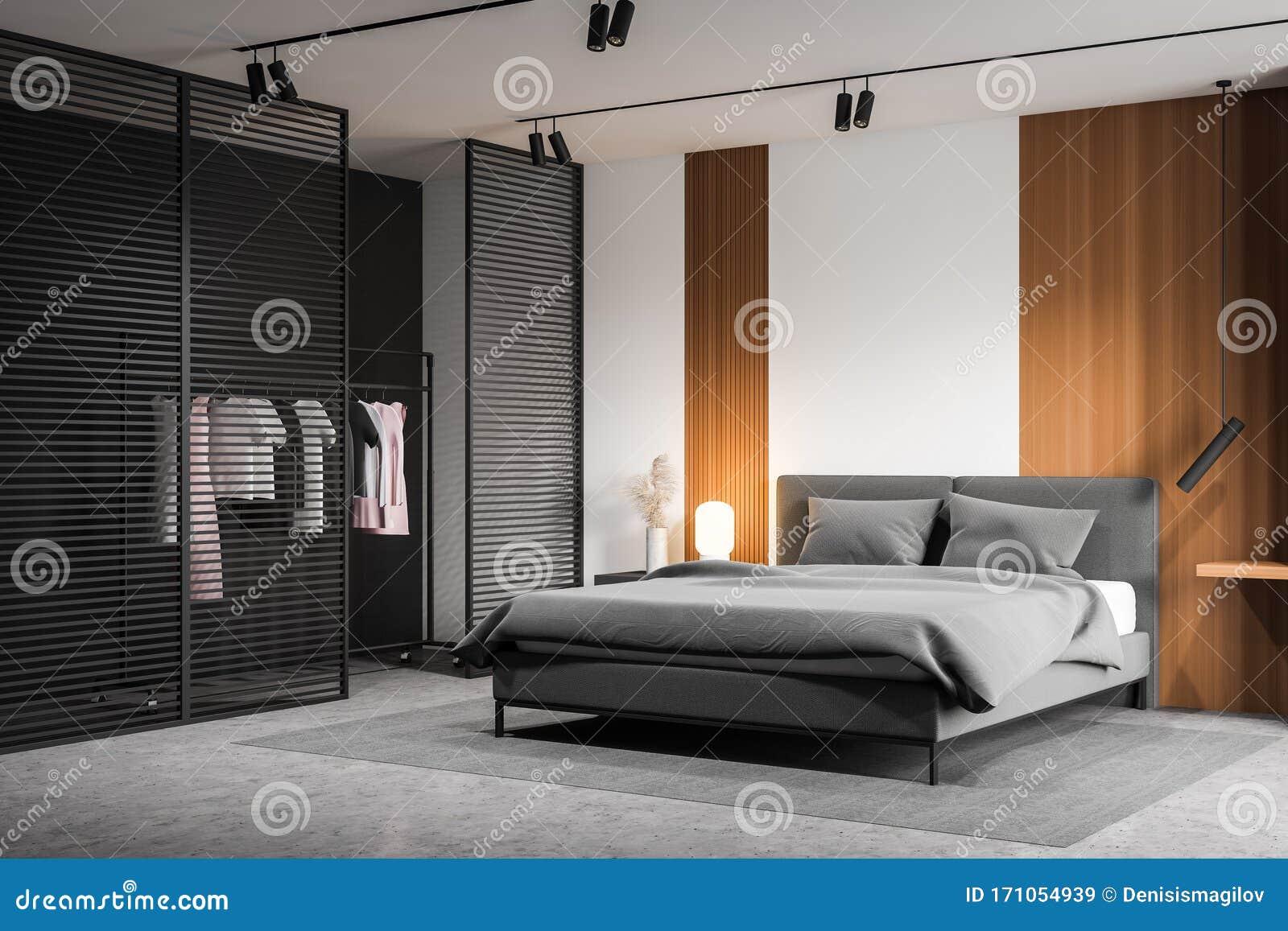 White Master Bedroom Corner With Wardrobe Stock Illustration Illustration Of Indoors House 171054939