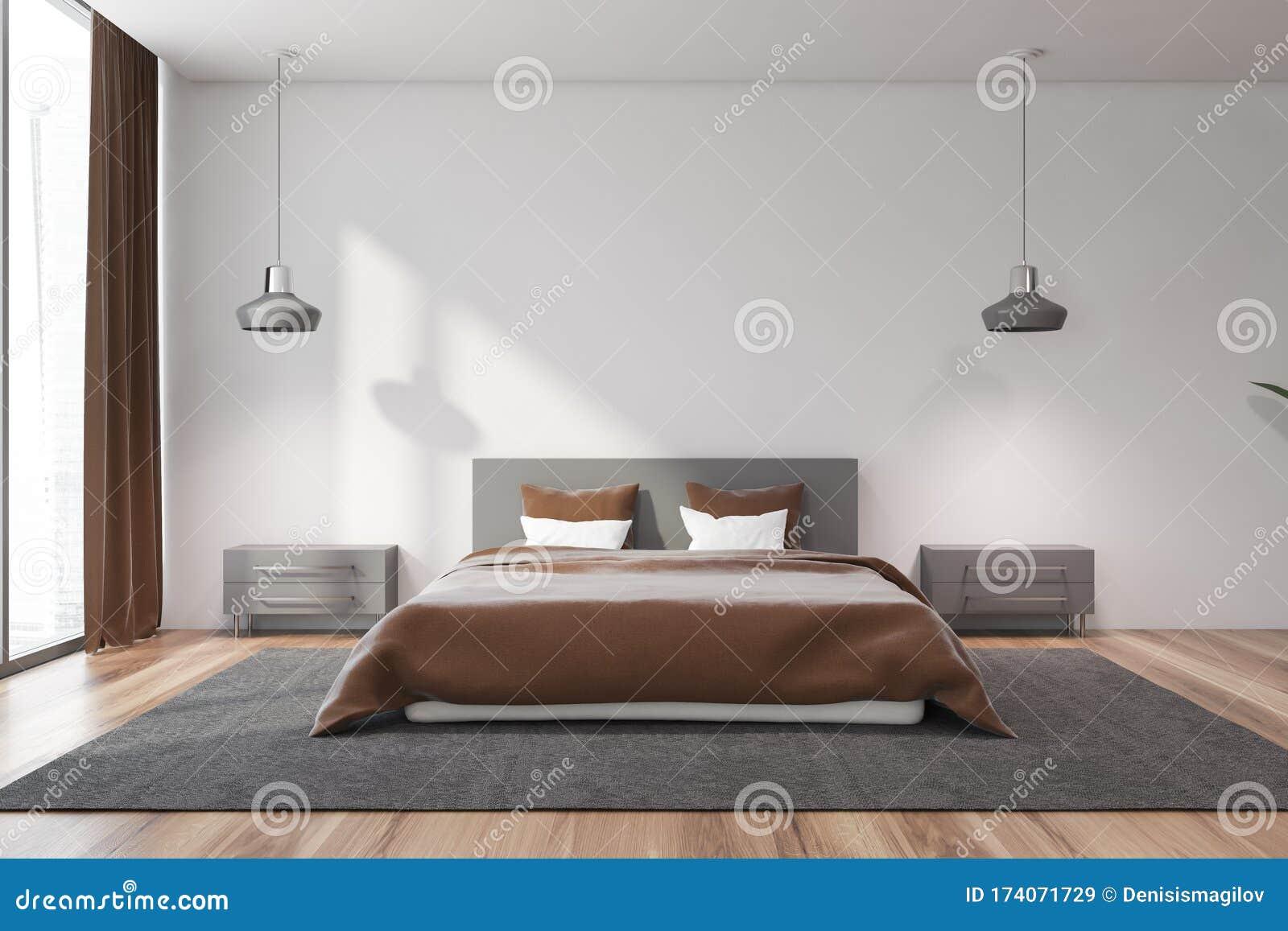 White Master Bedroom Interior With Brown Bed Stock Illustration Illustration Of Elegant Blanket 174071729