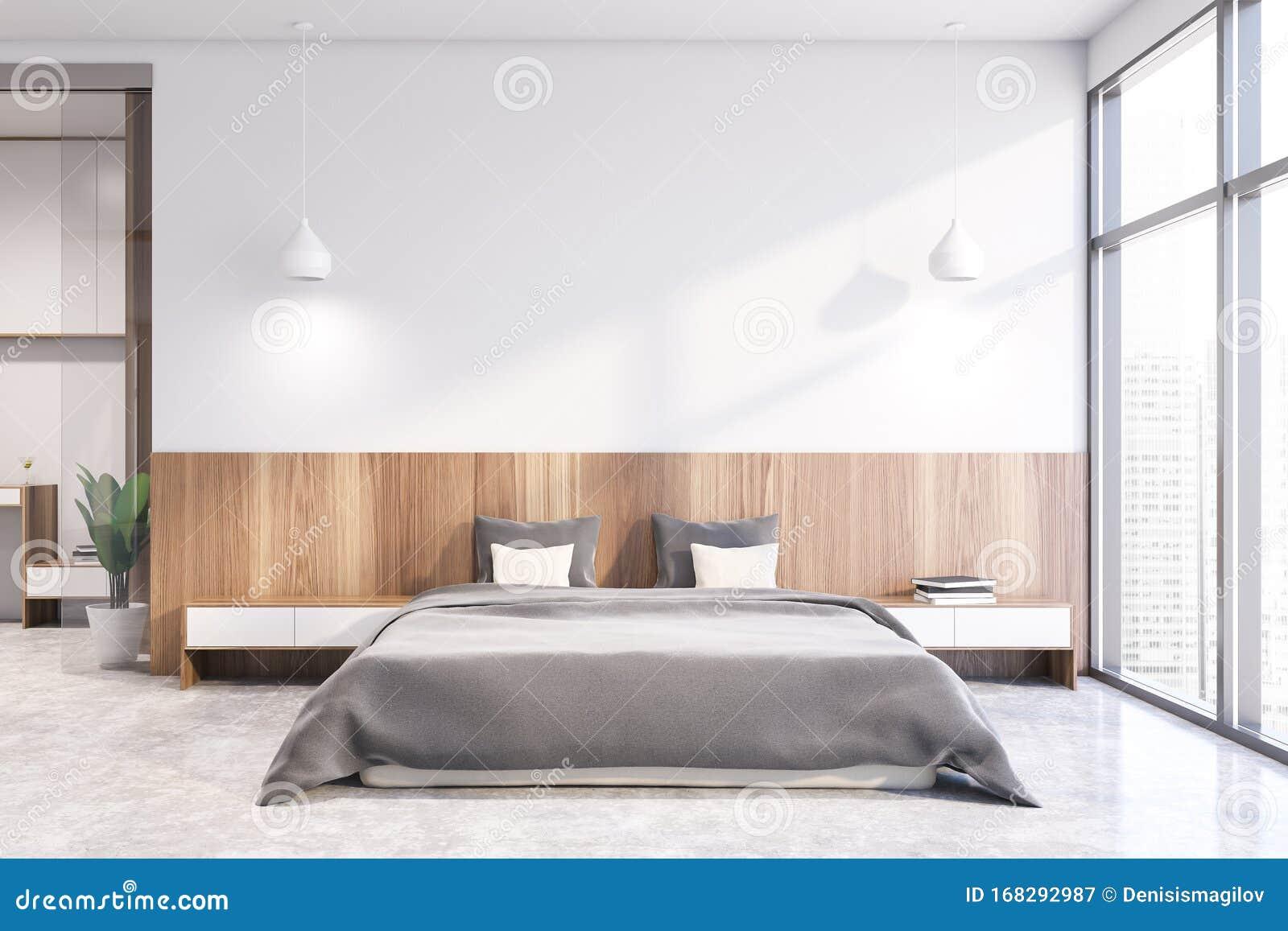 White Master Bedroom Interior Design Stock Illustration Illustration Of Loft Real 168292987