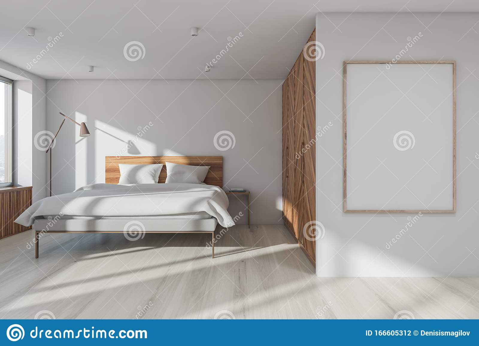 White Master Bedroom Interior With Poster Frame Stock Illustration Illustration Of Interior Master 166605312