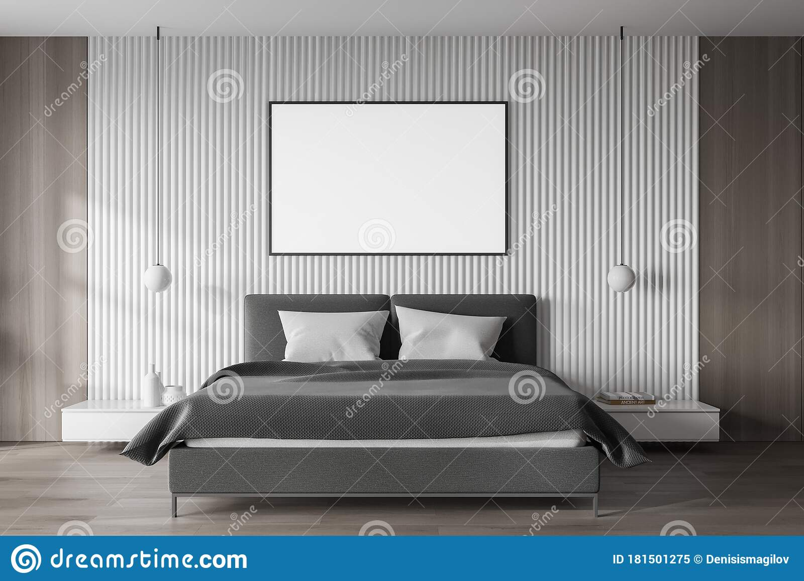 White Master Bedroom With Poster Stock Illustration Illustration Of Lifestyle Estate 181501275