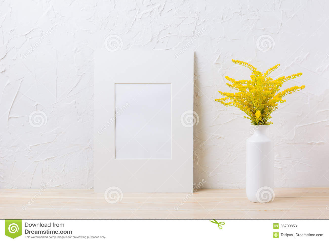 White mat frame mockup with ornamental yellow flowering for Ornamental grass with yellow flowers
