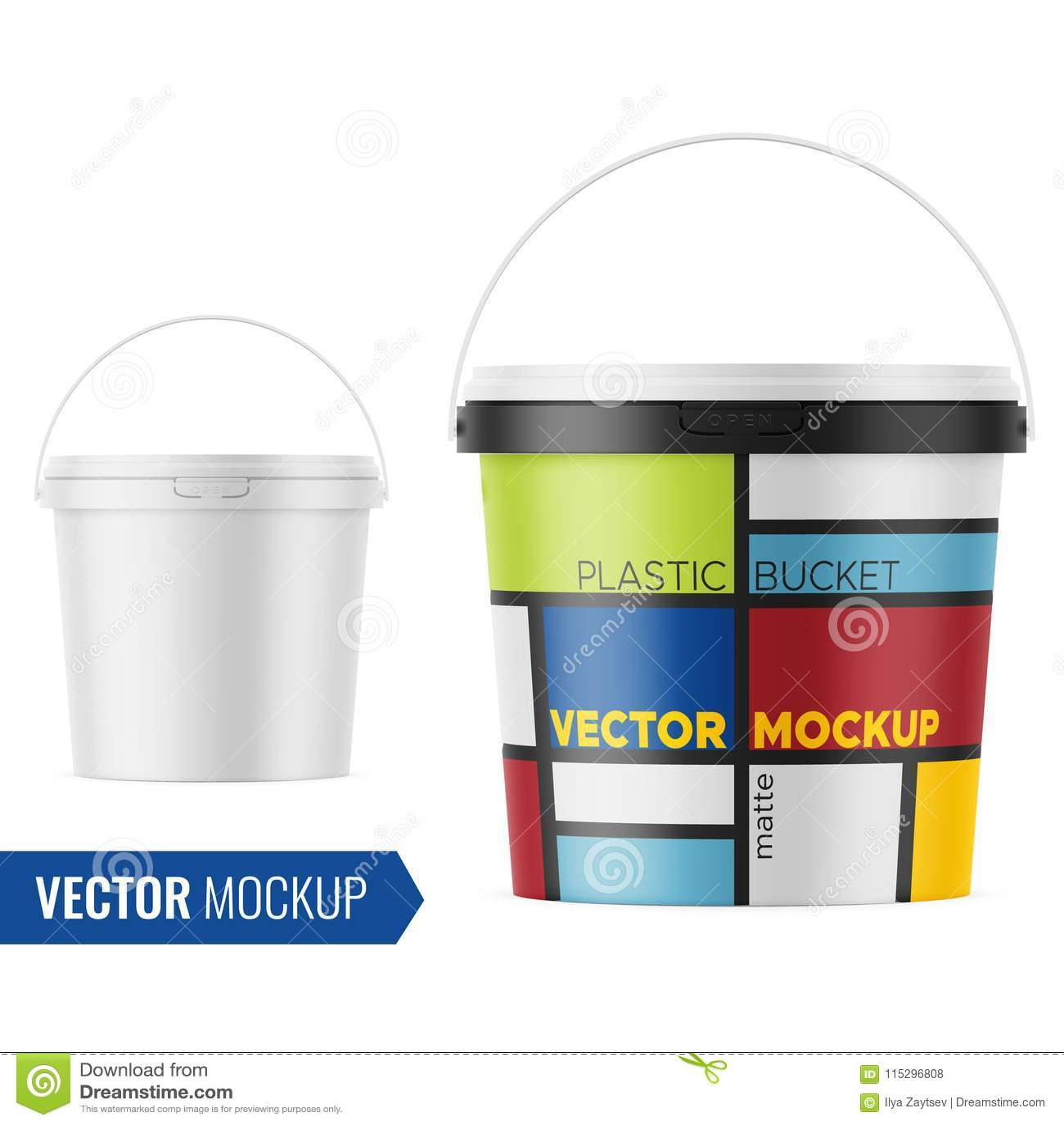 Download White Matte Plastic Bucket Mockup Template. Stock Vector ...