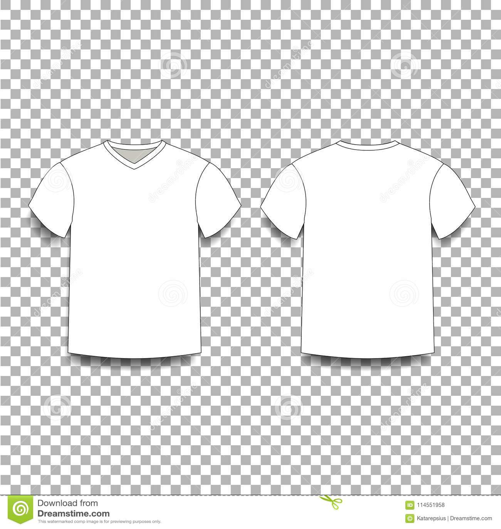 eae81e00 White Men`s T-shirt Template V-neck Front And Back Side Views. Stock ...