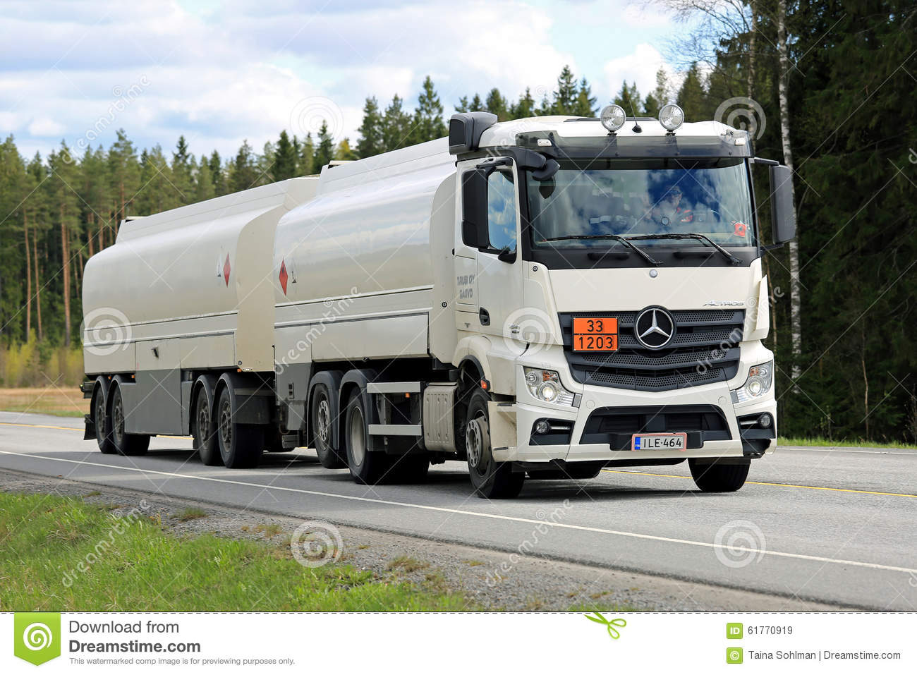 White mercedes benz actros 2545 tank truck on the road for White mercedes benz truck