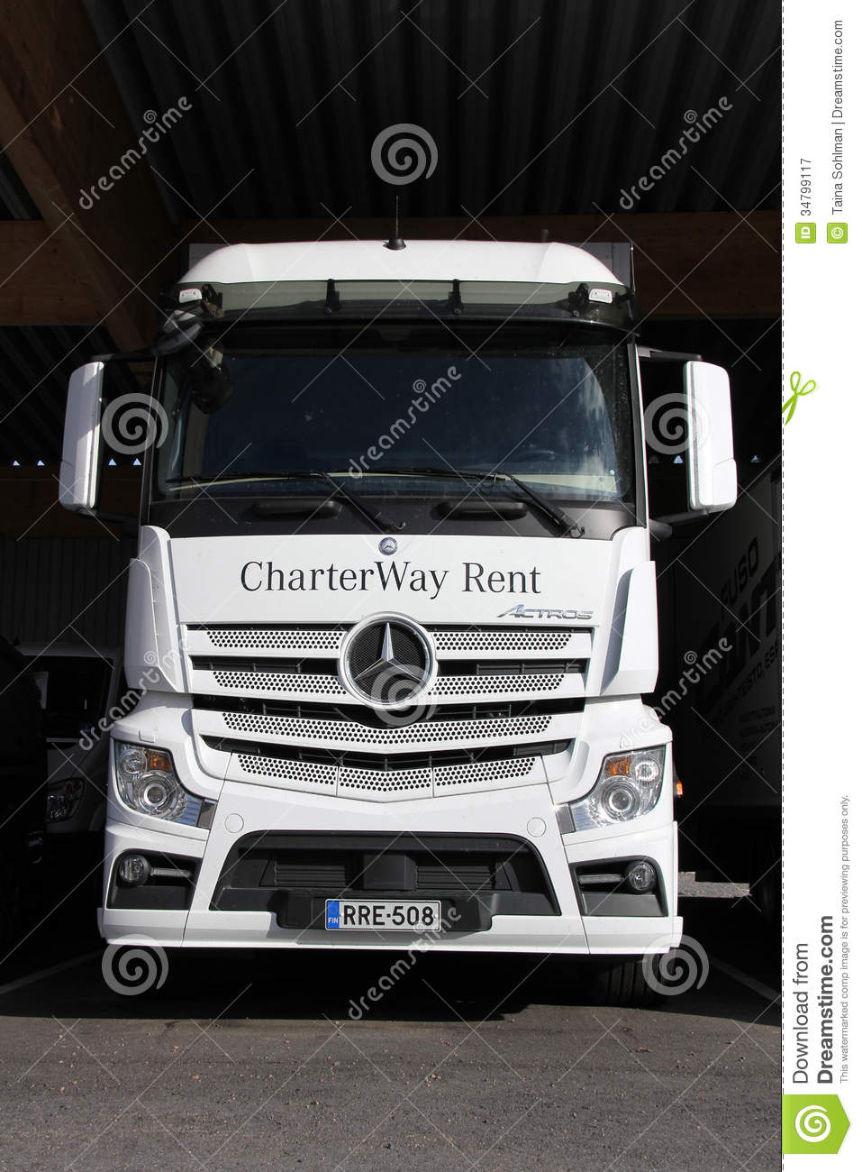 White mercedes benz actros truck editorial photography for White mercedes benz truck