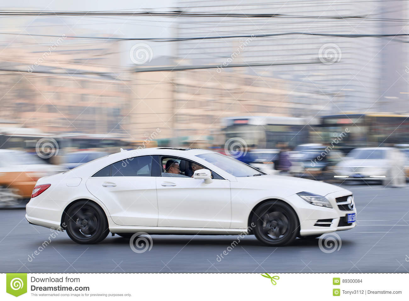 White Mercedes Benz Sls55 Amg In Busy City Center Beijing China Engineering