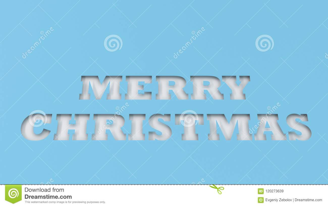 white merry christmas words cut in blue paper