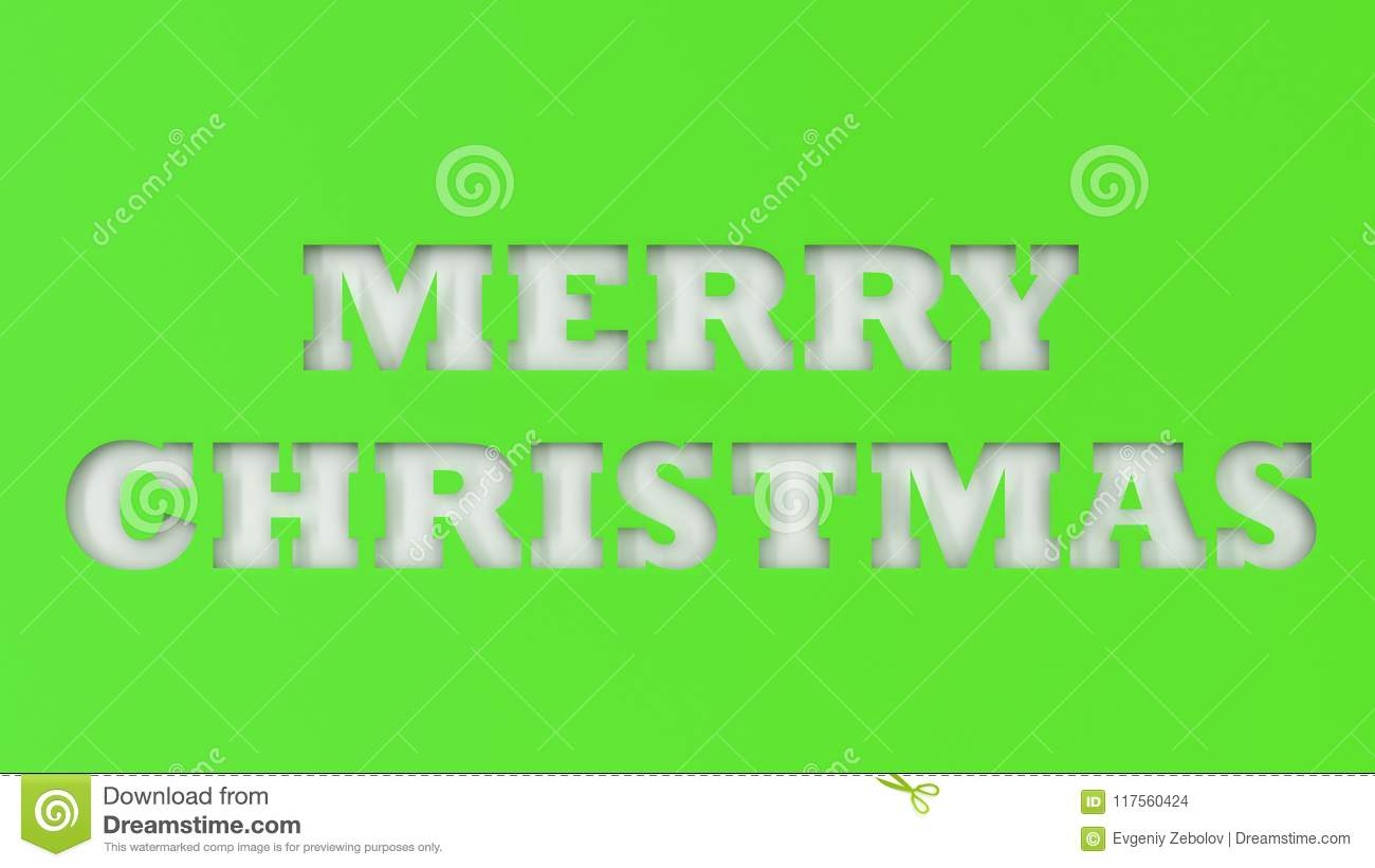 white merry christmas words cut in green paper