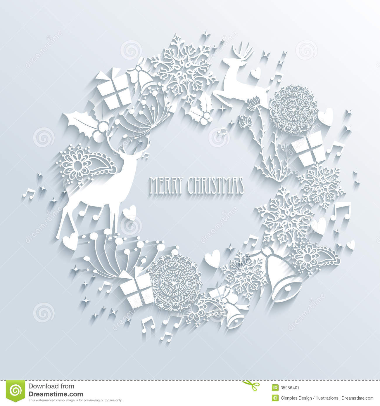 White Merry Christmas Wreath Greeting Card Stock Vector - Image: 35956407