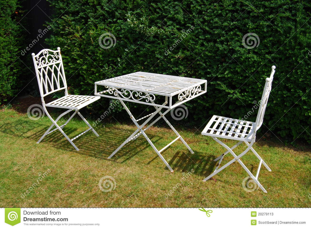white metal garden furniture table and two chairs stock photos image