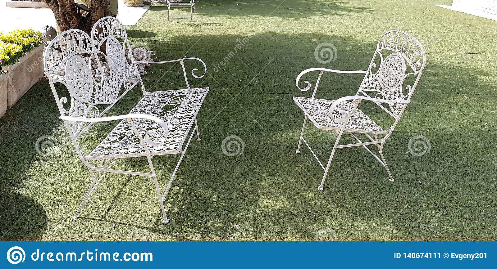 Outstanding White Metal Vintage Chair And Bench Stock Image Image Of Theyellowbook Wood Chair Design Ideas Theyellowbookinfo