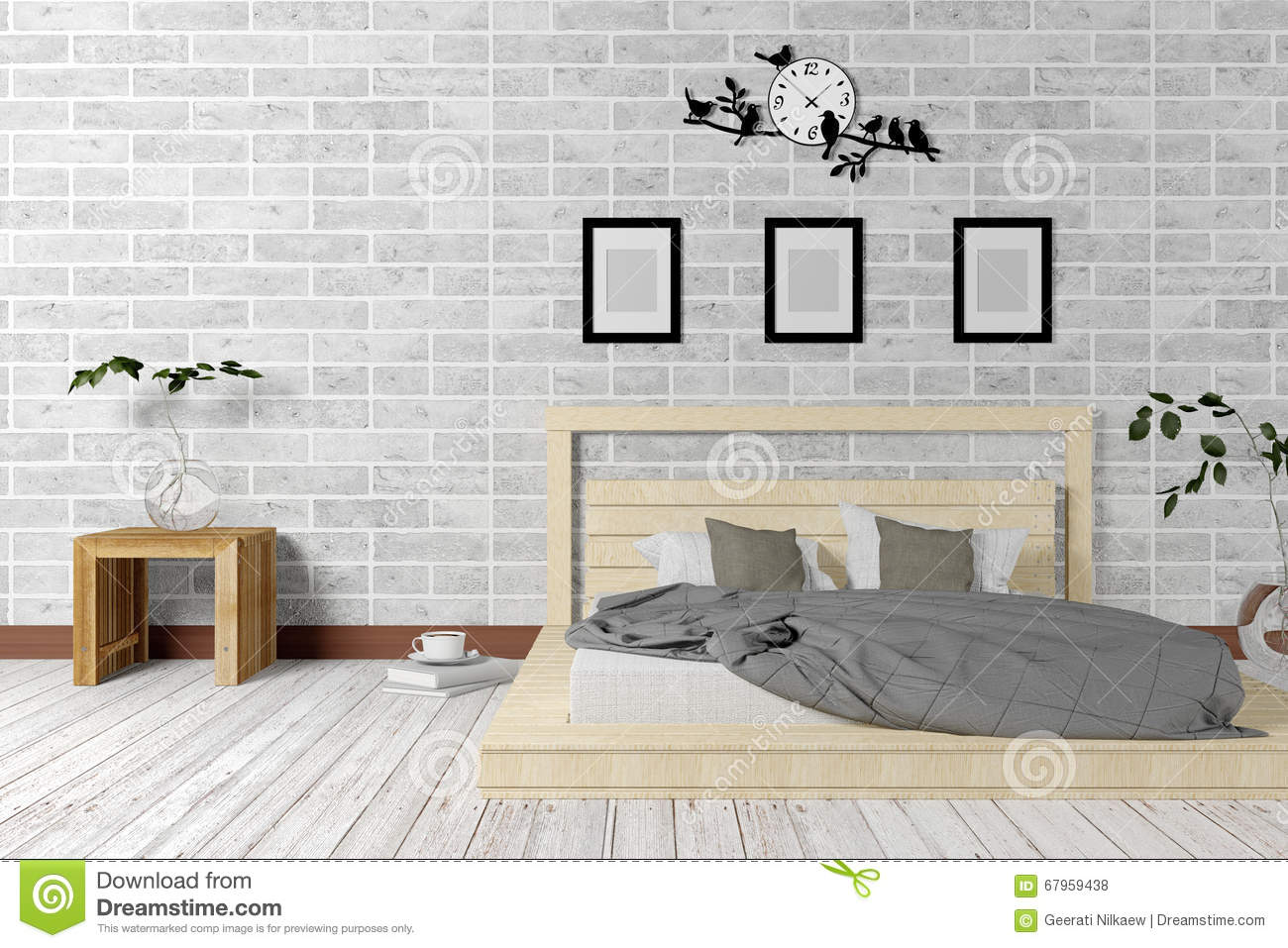 Bedroom with decorative plants royalty free stock image for Minimalist living bedroom