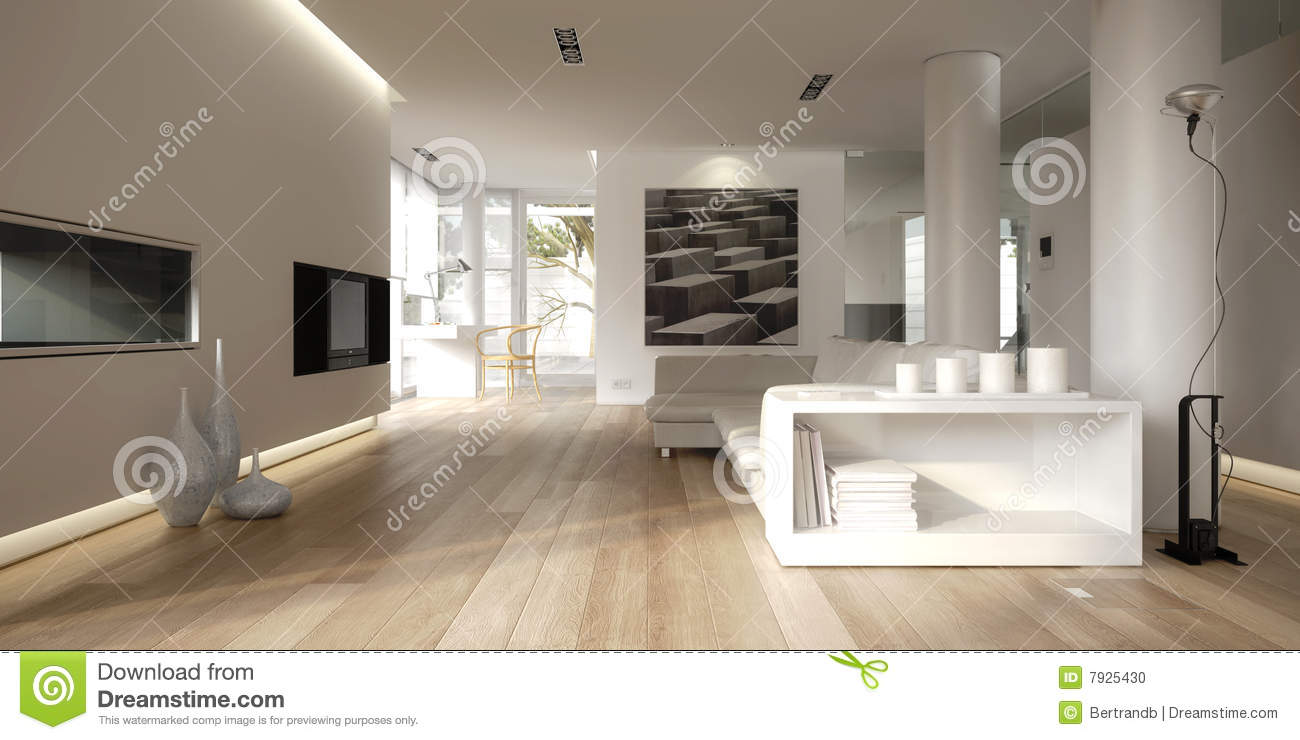 White minimalist interior stock photo image 7925430 for Minimalist house 3d