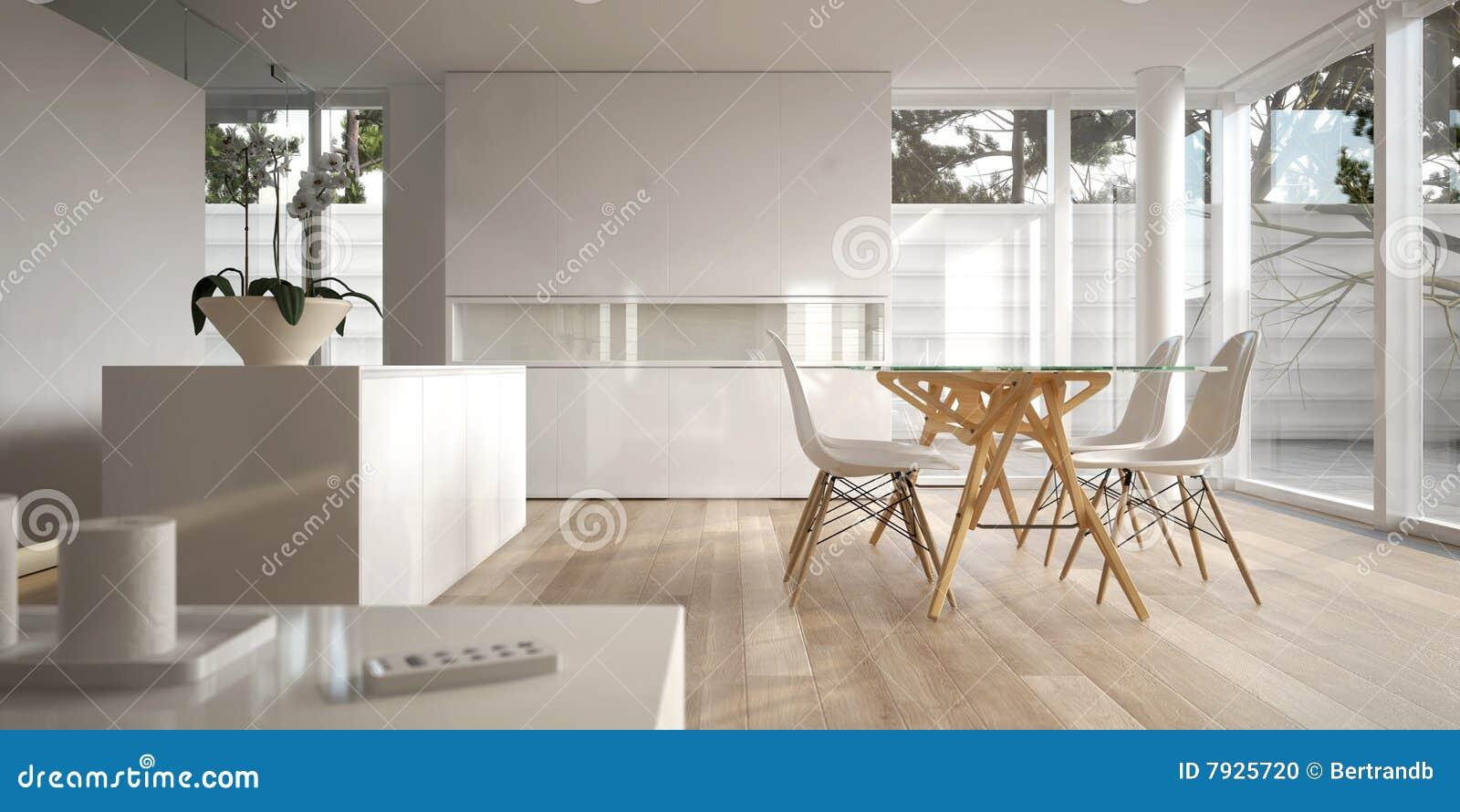 White Minimalist Interior With Dining Table Stock Illustration