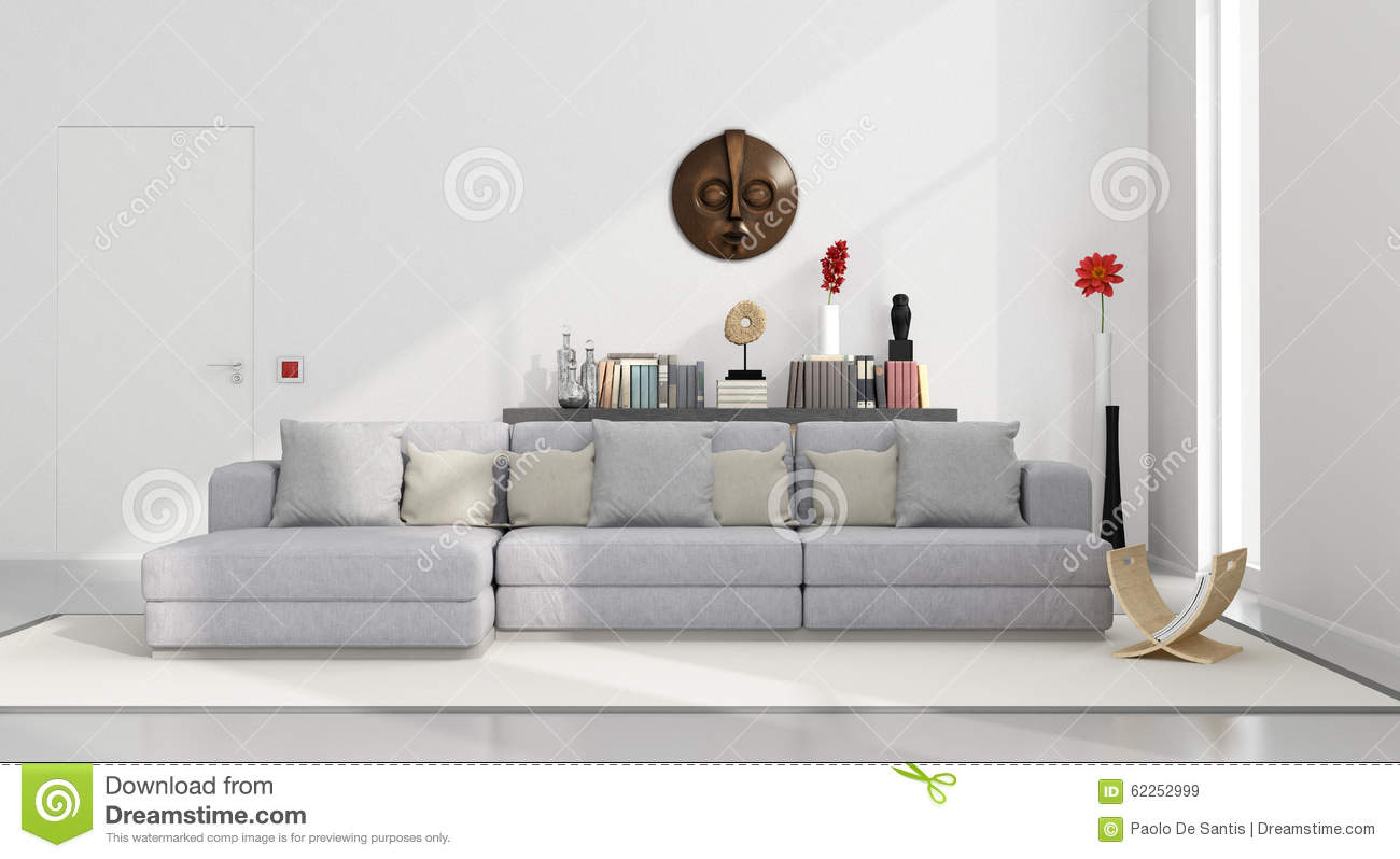 White minimalist living room stock illustration for White minimalist living room