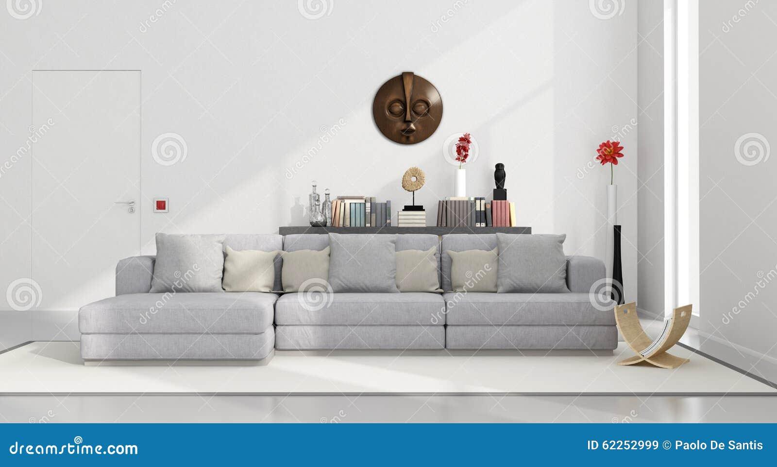 White minimalist living room stock illustration image for White minimalist living room