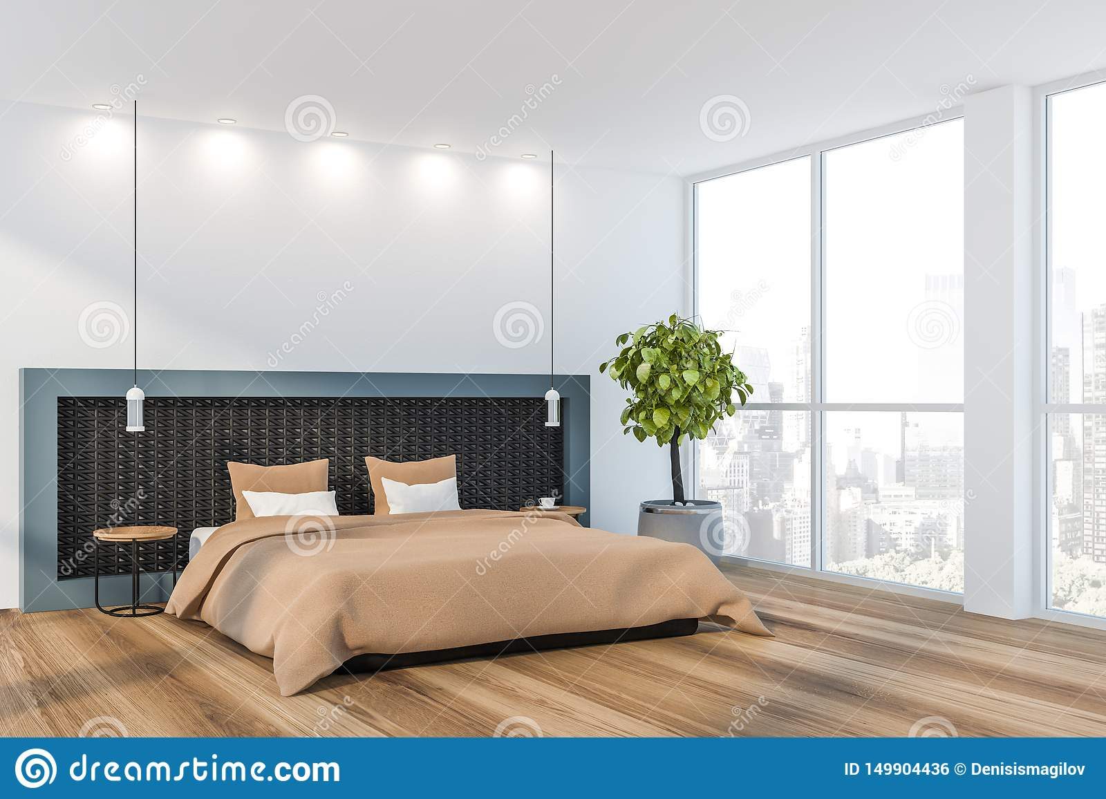 White Minimalist Master Bedroom Interior Stock Illustration