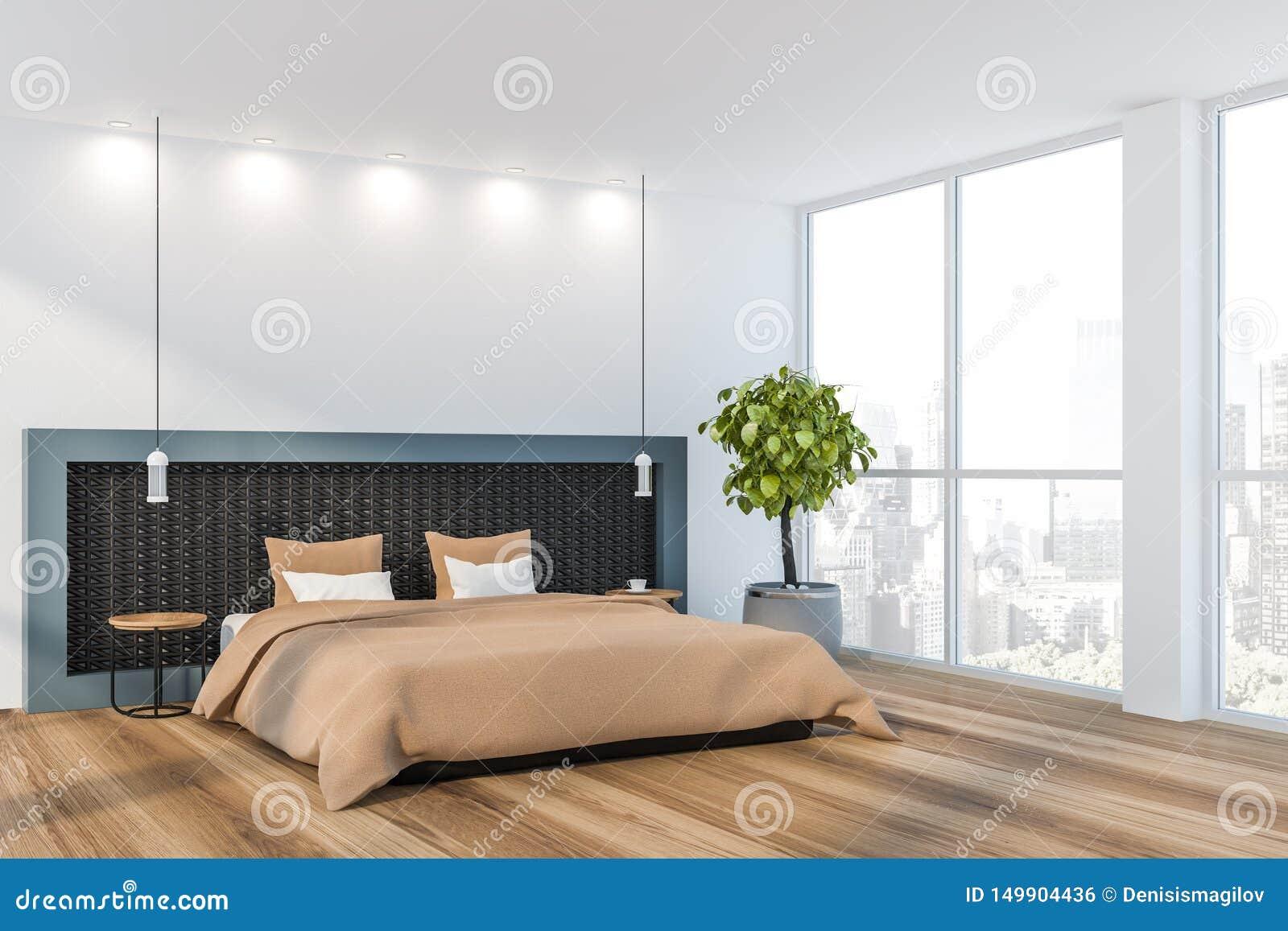 White Minimalist Master Bedroom Interior Stock Illustration ...