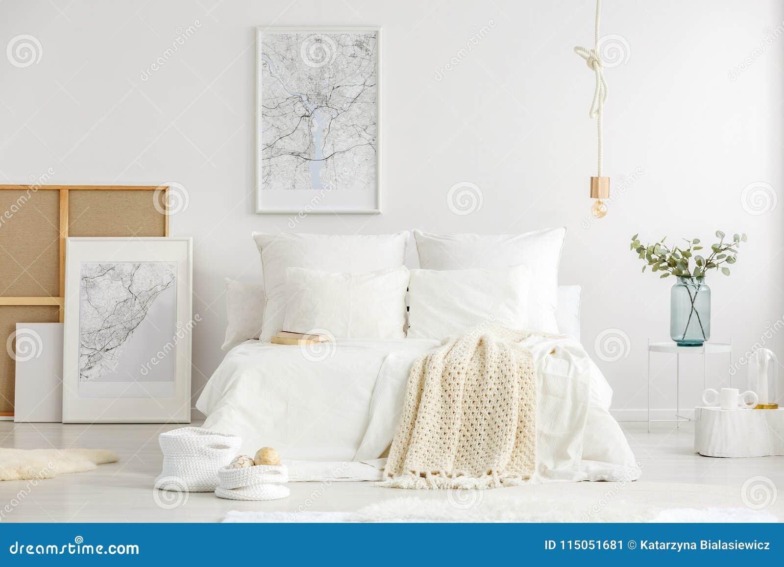 White Minimalist Master Bedroom Interior Stock Image - Image of ...