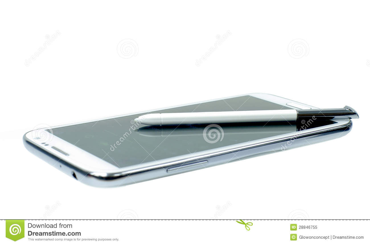White Mobile Phone With Stylus Pen Royalty Free Stock