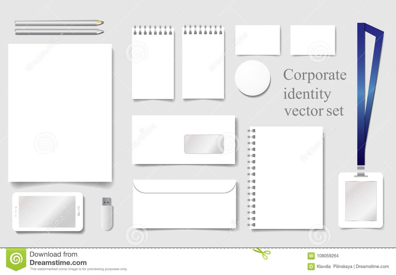 White Mock-up Vector Template For Corporate Identity With Sheet ...