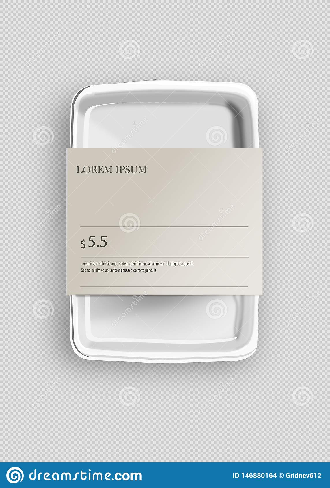 White Mockup Empty Blank Styrofoam Plastic Food Tray Container With Lable. Illustration Isolated On Gray Background. Mock Up