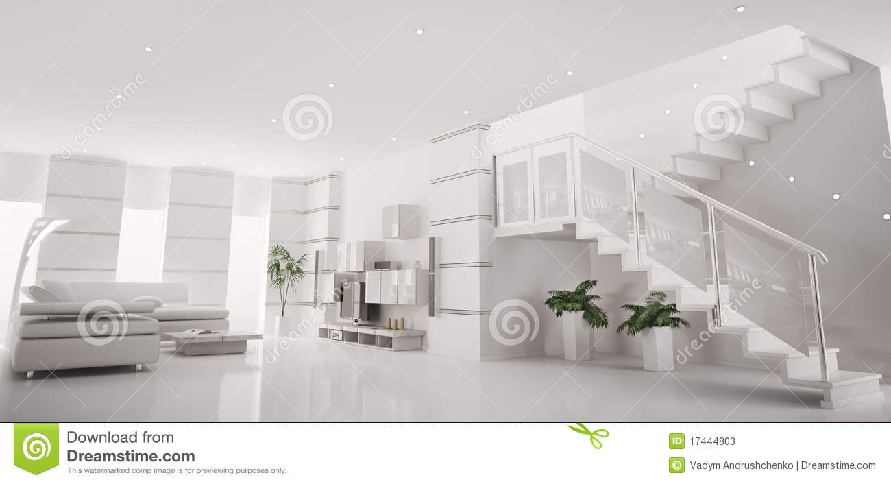 White modern apartment interior panorama 3d render stock - Decoration interieur appartement moderne ...