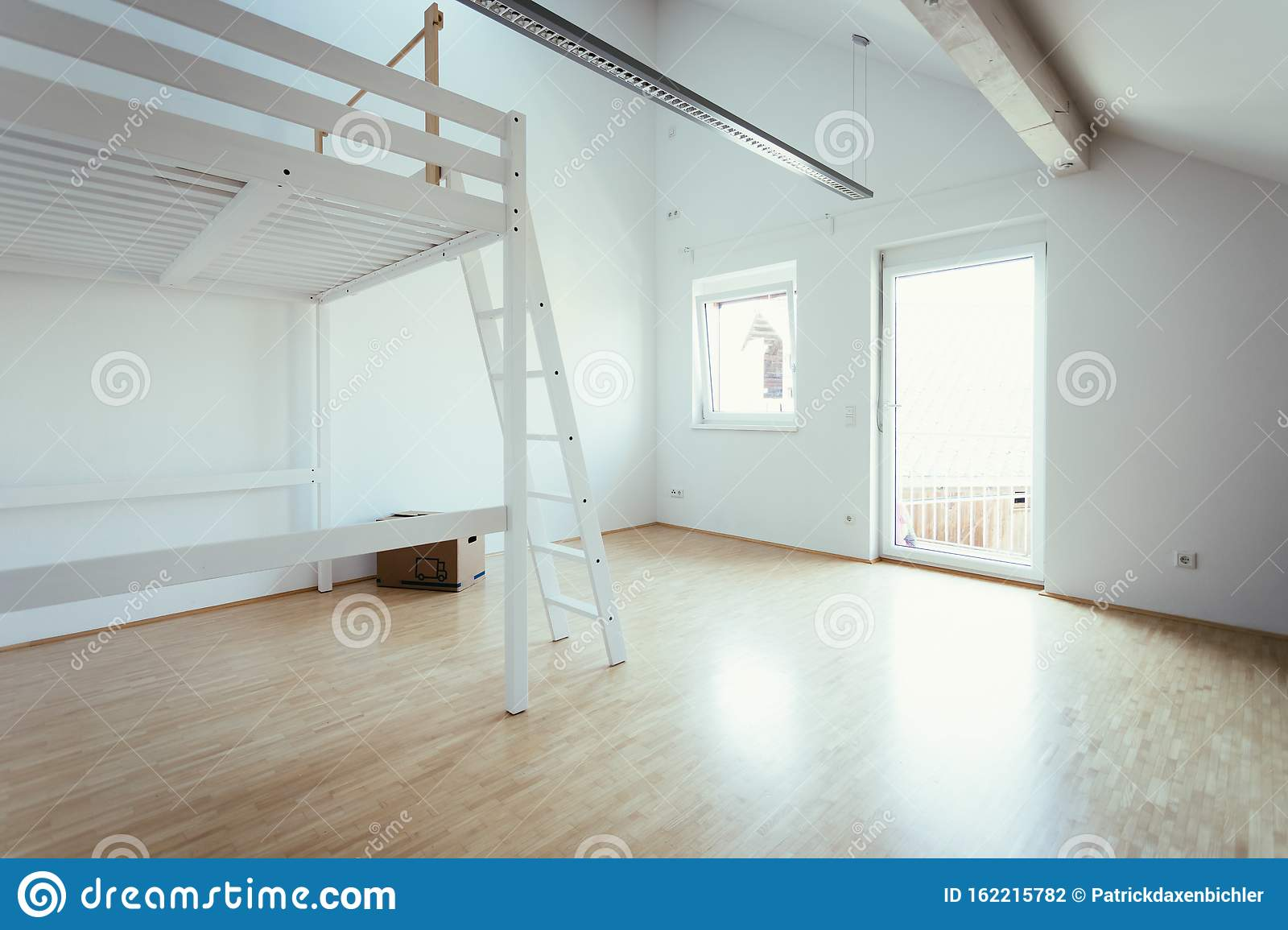 Picture of: White Modern Bunk Bed In Bright Room Tiny Living Concept Stock Photo Image Of Concept Room 162215782