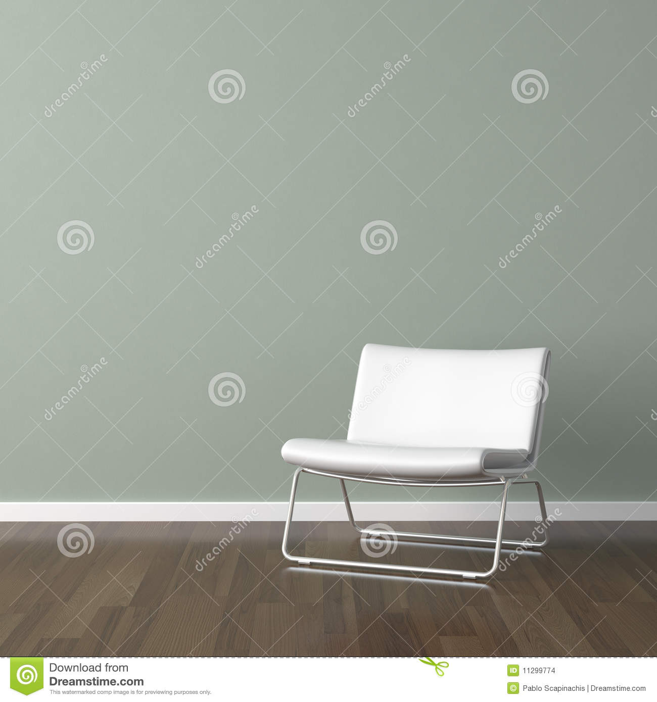 White modern chair on green wall