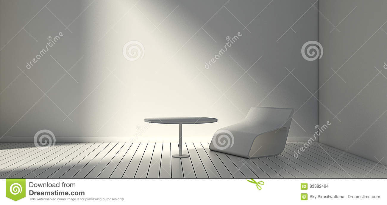 White Modern Chair And Wall In Simple Living Room 3d Or Illustration Interior