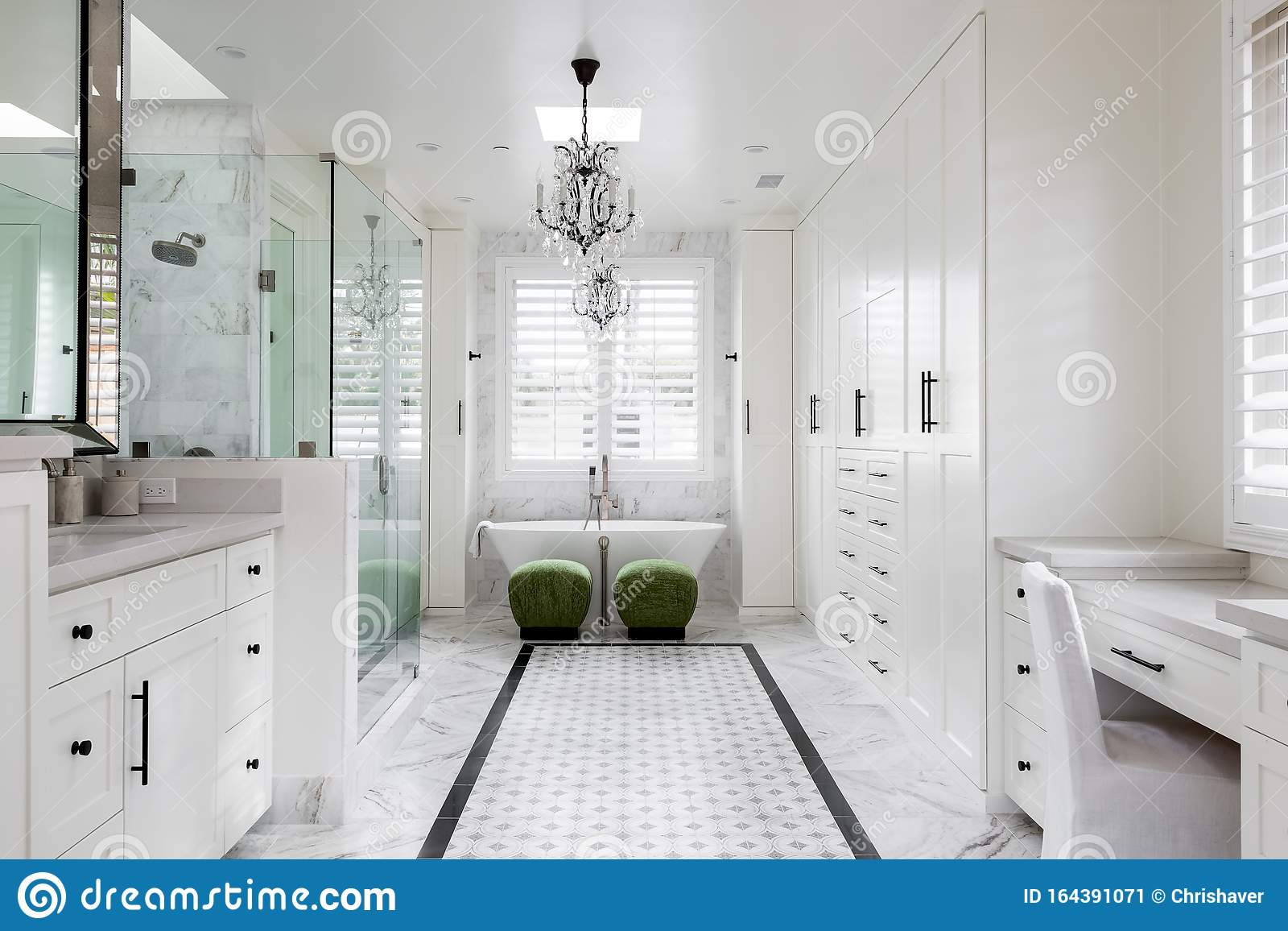 White Modern Contemporary Residential Bathroom Stock Image Image Of Faucet Building 164391071