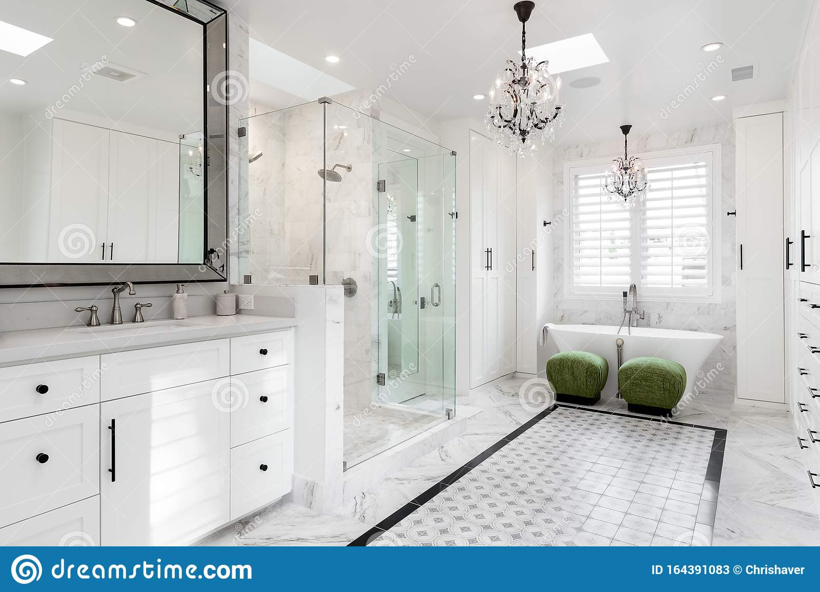White Modern Contemporary Residential Bathroom Stock Image Image Of Architecture Chandelier 164391083