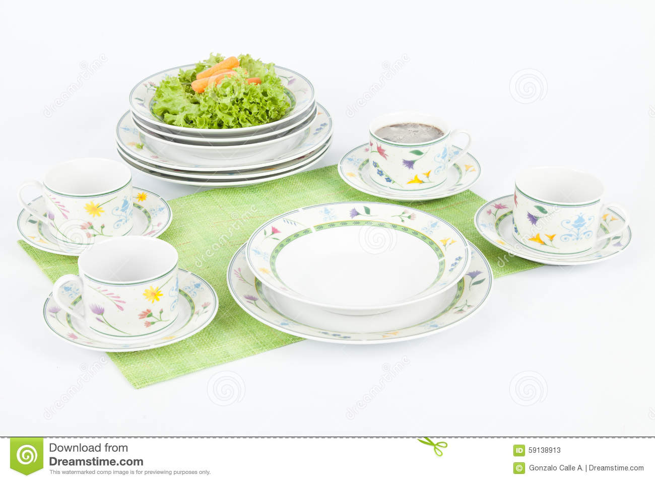 white modern dishes with figures flowers shapes stock photo  - white modern dishes with figures flowers shapes