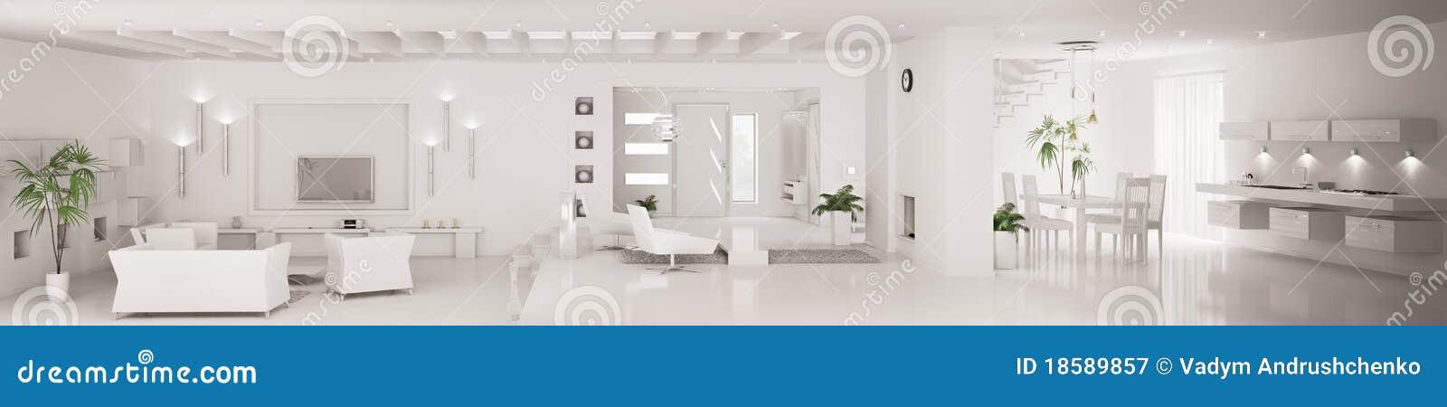 Interior Of Modern Apartment Panorama 3d Render Stock Illustration ...