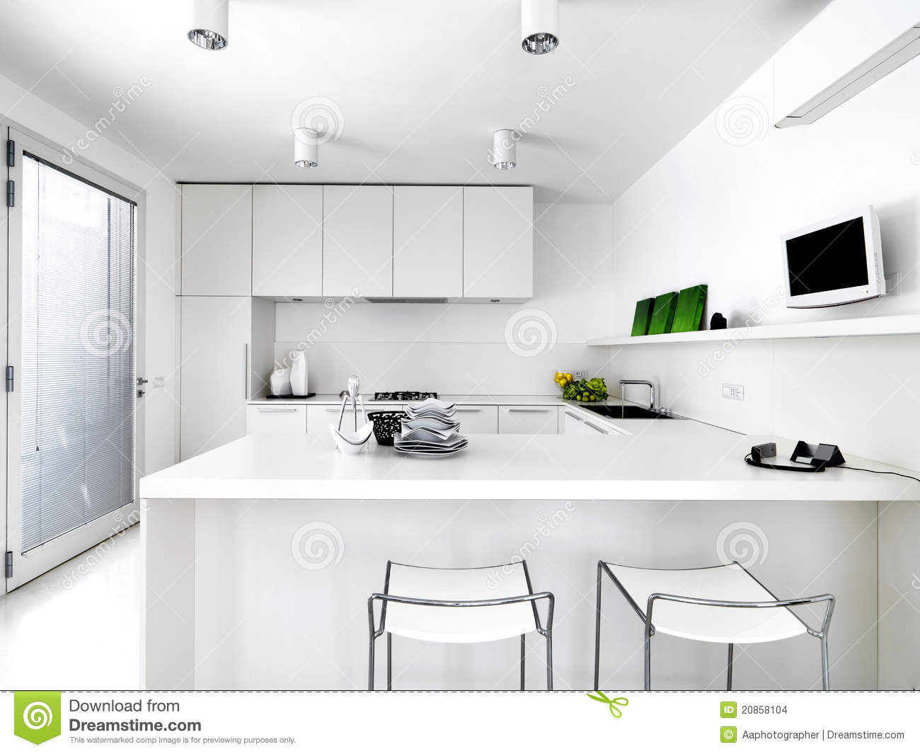 White Modern Kitchen White Modern Kitchen Stock Images Image 20858104