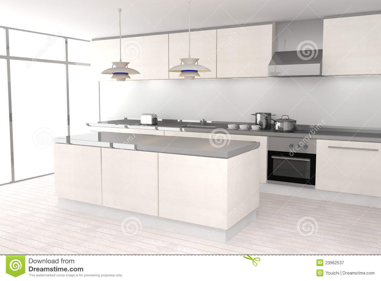 White Modern Kitchen Royalty Free Stock Photography - Image: 23962537