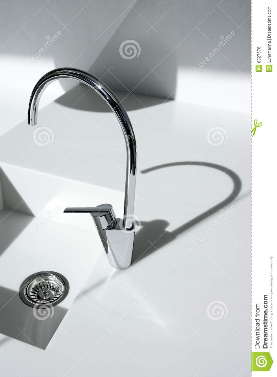White modern kitchen detail faucet and sink royalty free - White kitchen sink faucets ...