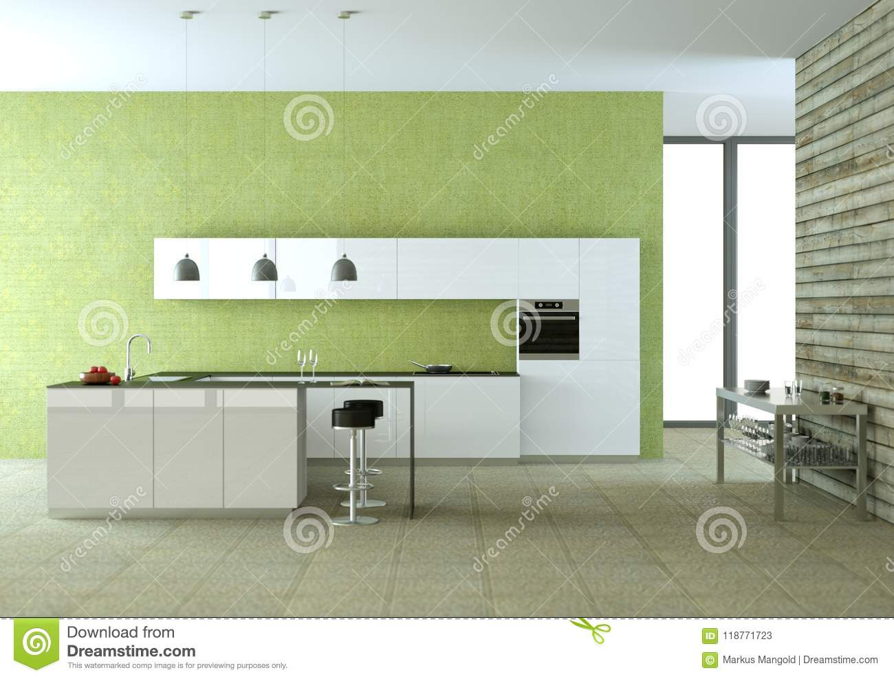 White Modern Kitchen With Green Wallpaper
