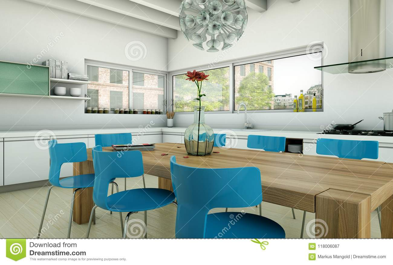 Modern Kitchen Design Blue And White