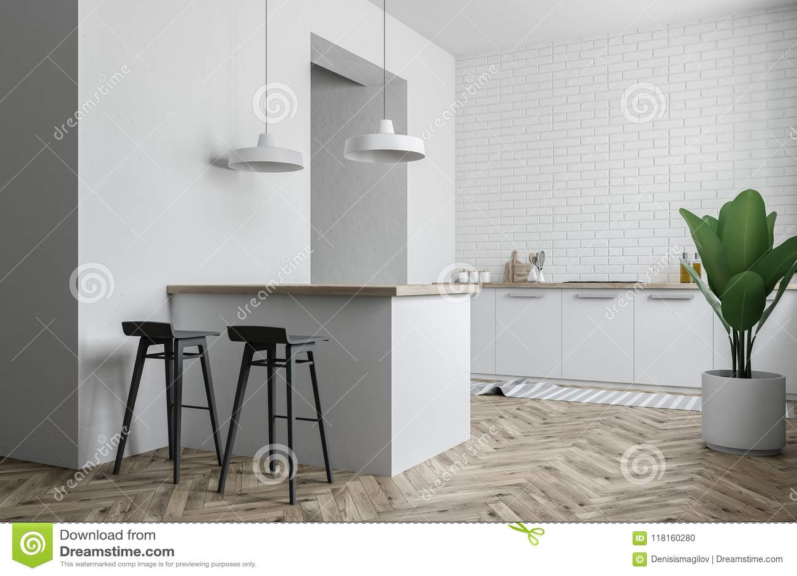 Brilliant White Modern Kitchen Interior Bar Stools Stock Illustration Alphanode Cool Chair Designs And Ideas Alphanodeonline