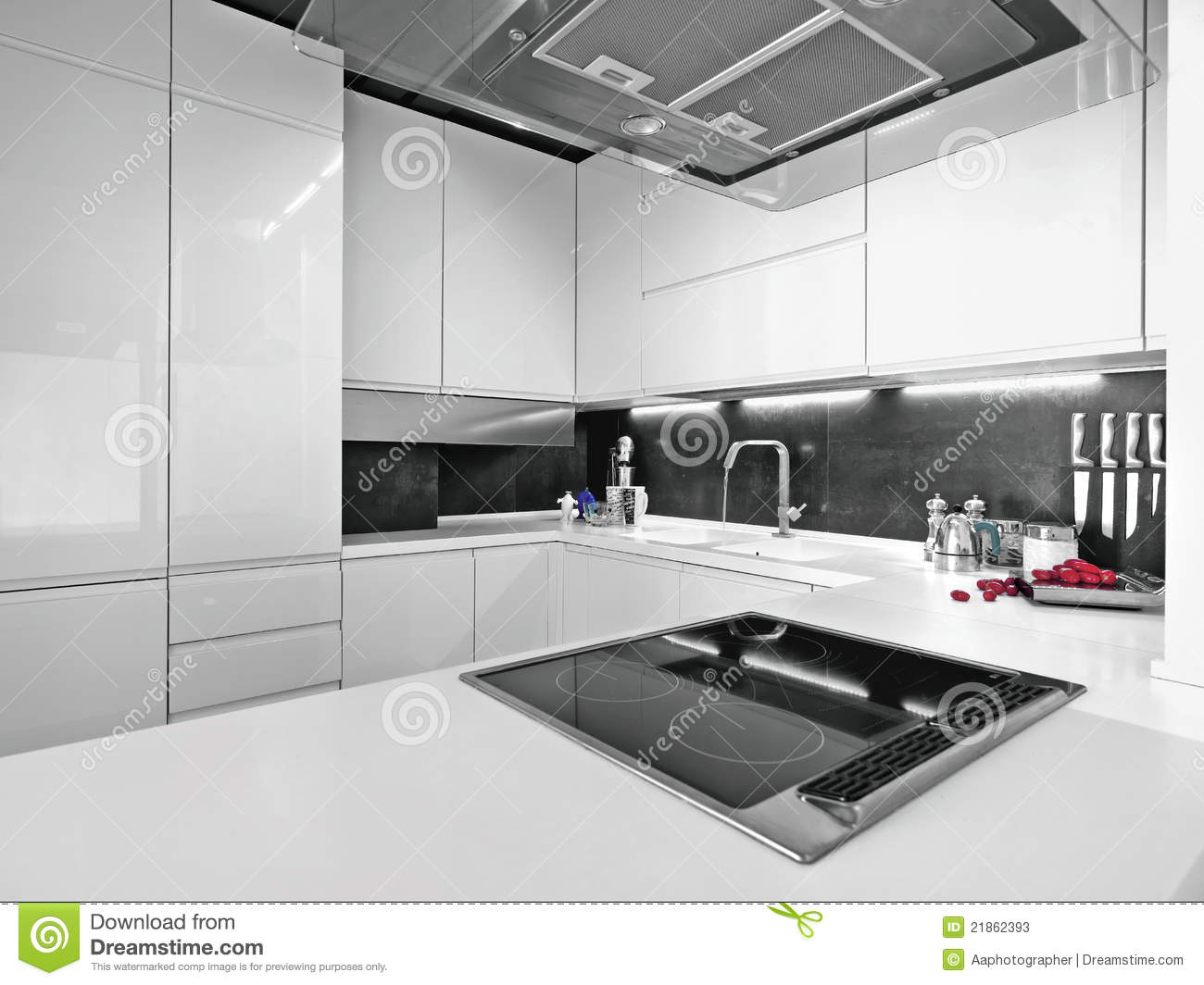 White Modern Kitchen White Modern Kitchen With Steel Appliances Stock Photos Image
