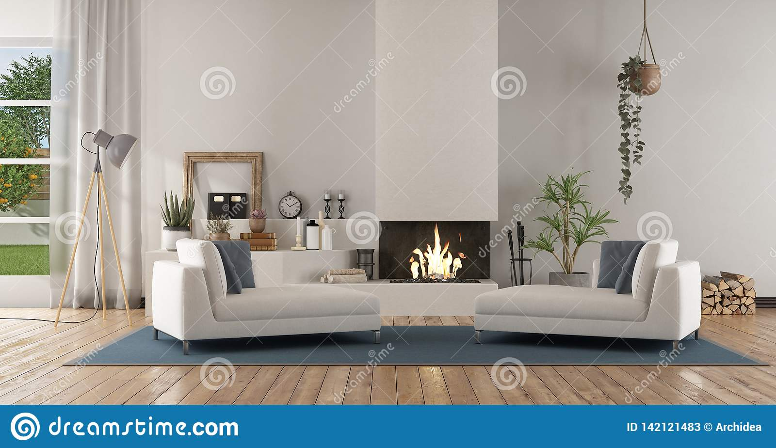 White Modern Living Room With Fireplace Stock Illustration Illustration Of Lounge Architecture 142121483