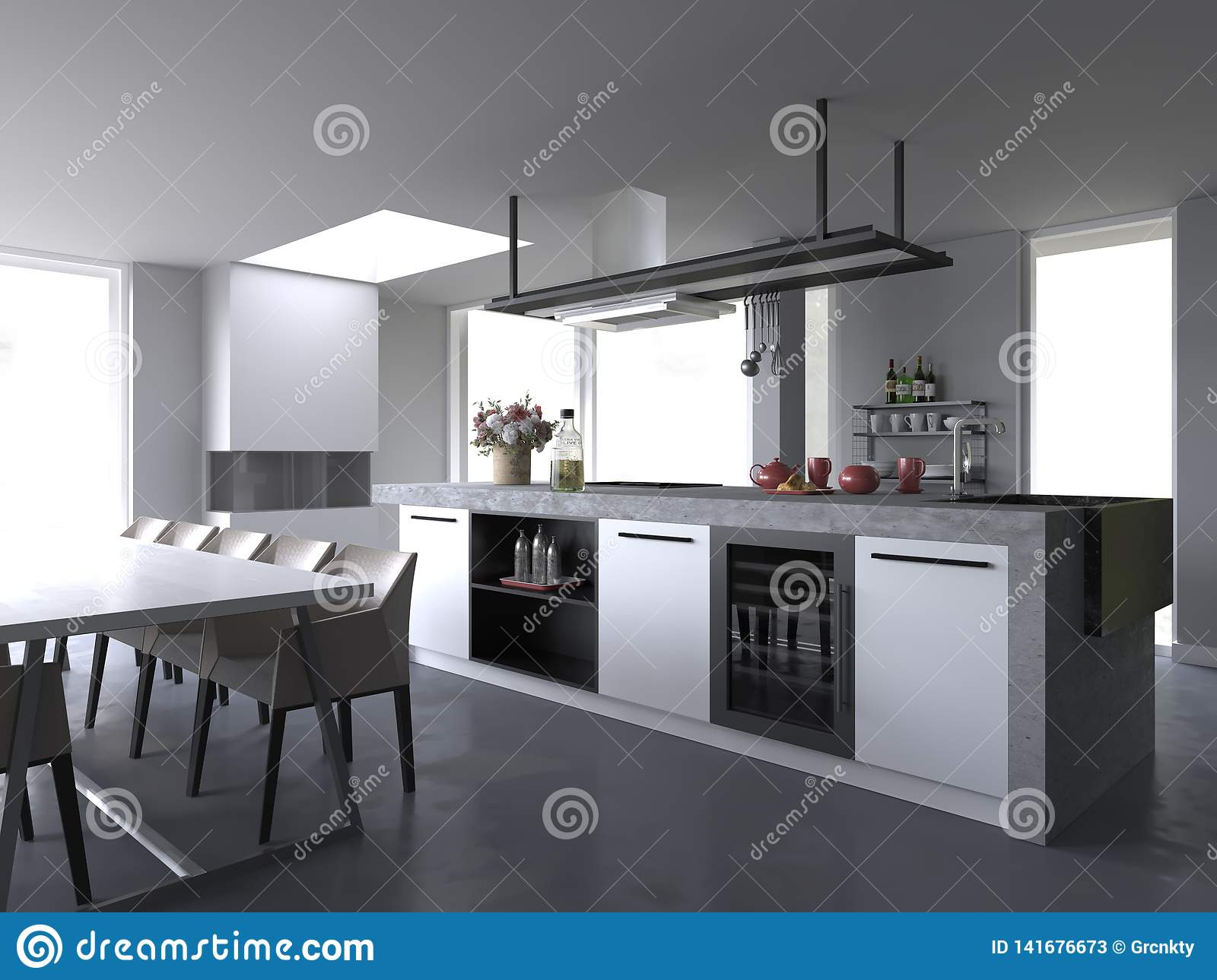 White Modern Luxury Kitchen Interior Without Background Stock