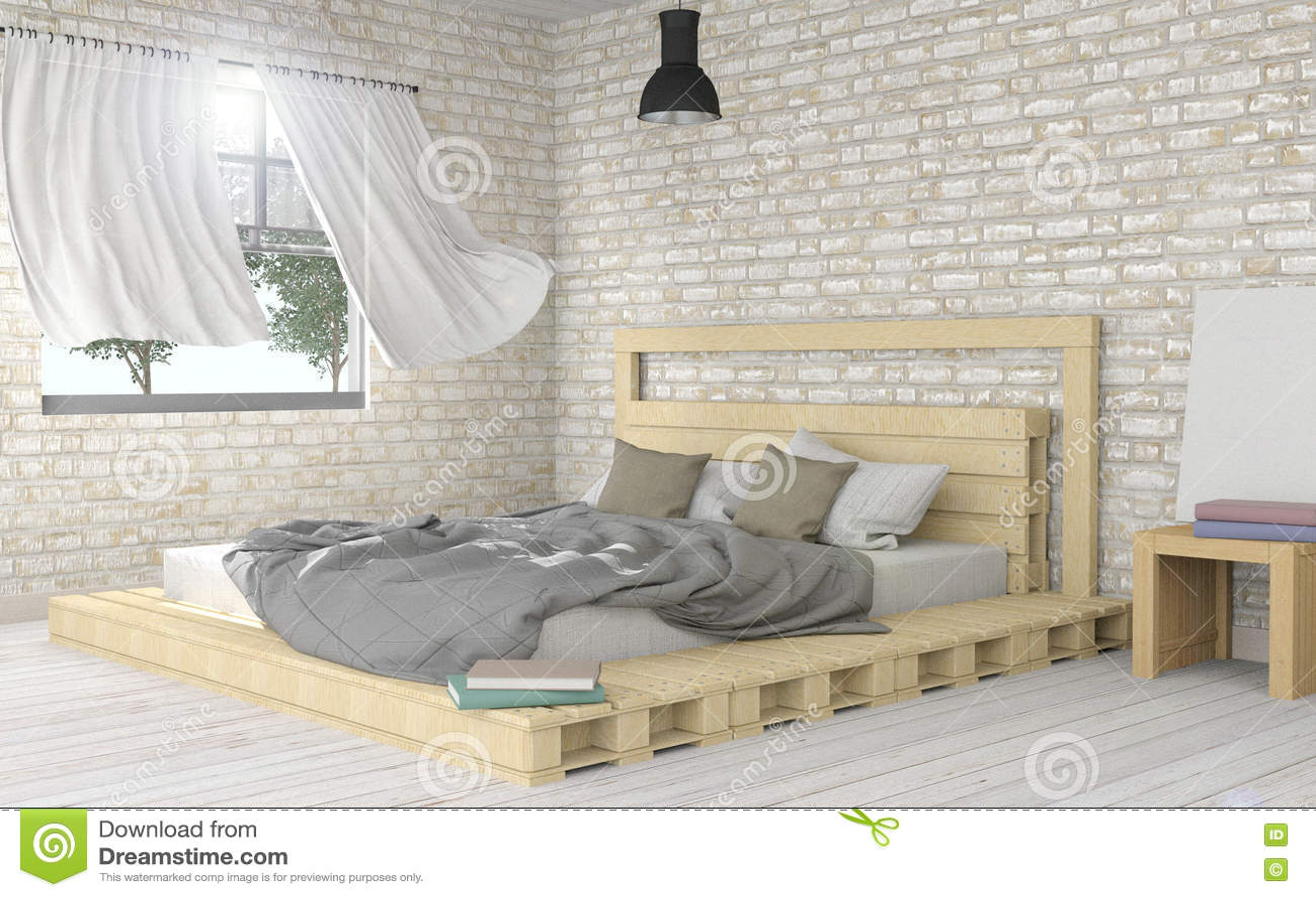 Download White Modern And Minimal Bedroom Interior Stock Photo   Image Of  Decoration, Hardwood:
