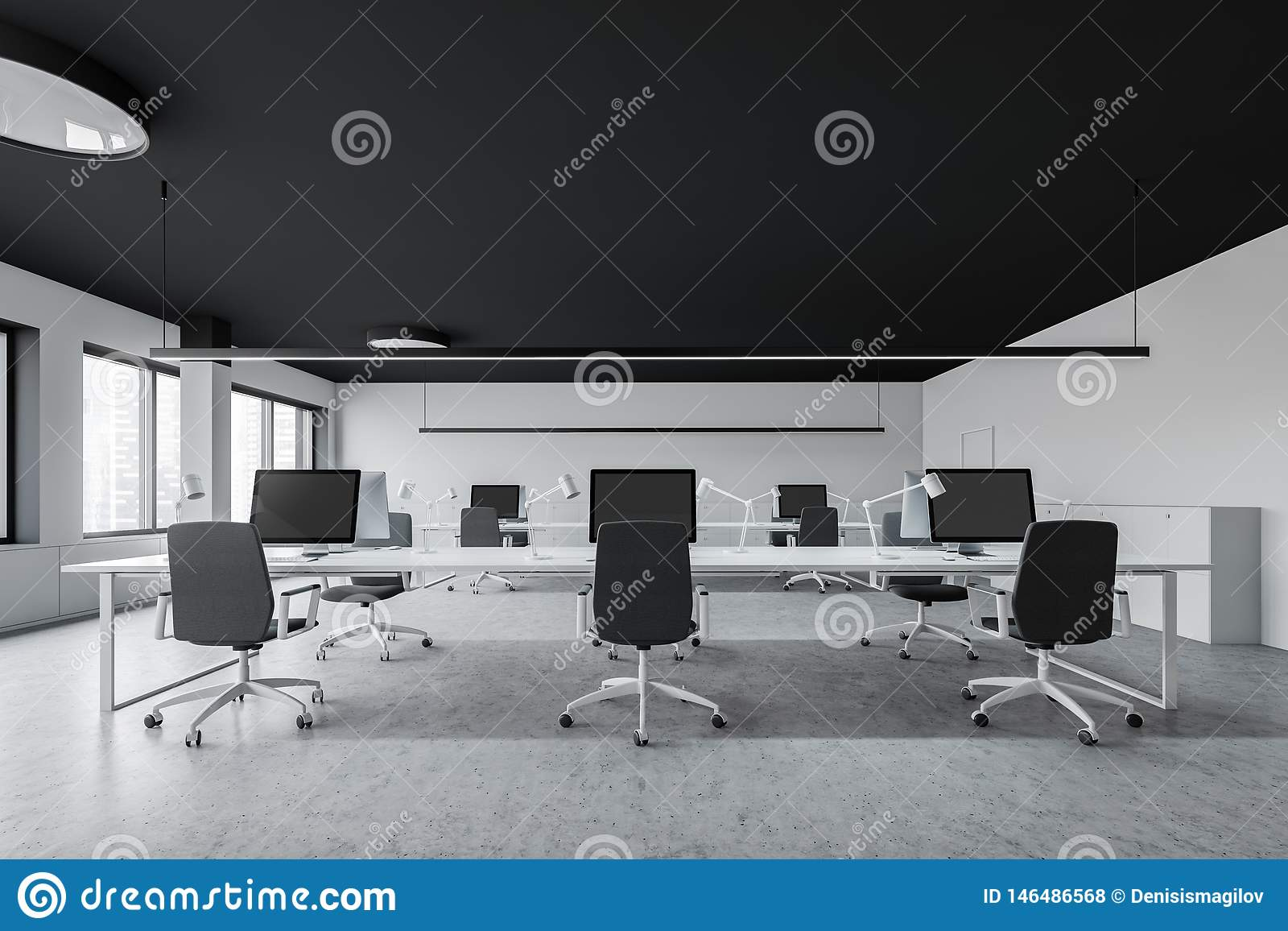 White Modern Open Space Office Interior Stock Illustration Illustration Of Desk Marketing 146486568