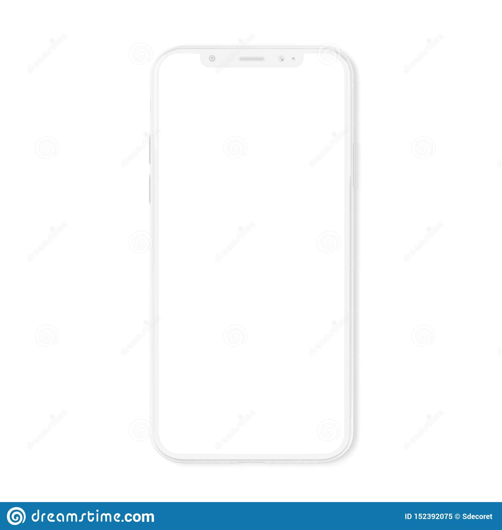 White modern smartphone mockup isolated on white 3D rendering