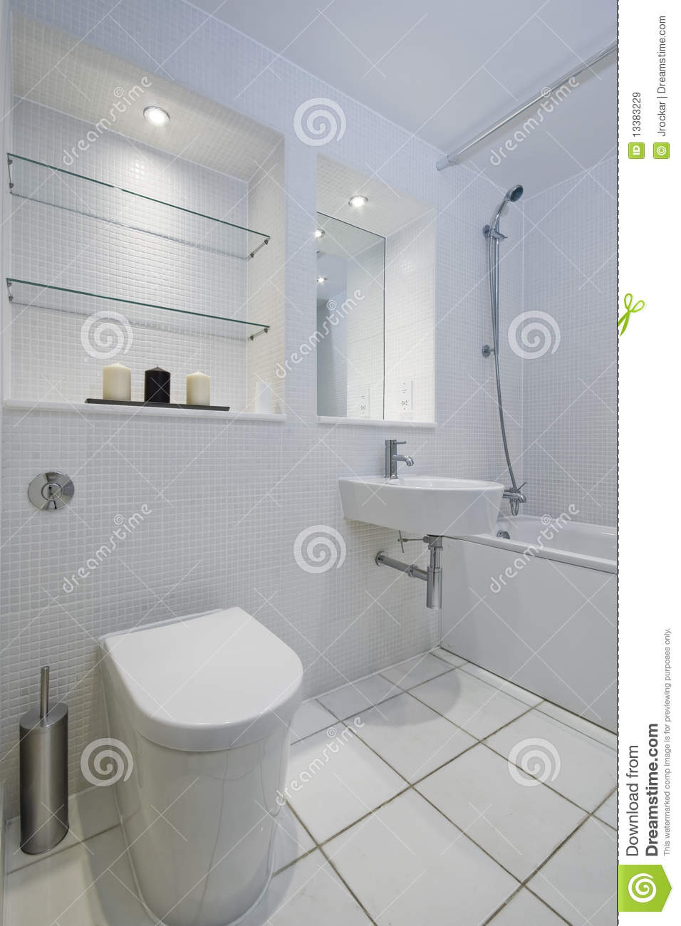 White Mosaic Tiled Bathroom Stock Image - Image of home, interior ...