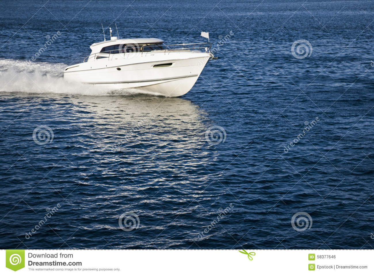 White Motor Boat Sailing In Calm Water Stock Photo Image